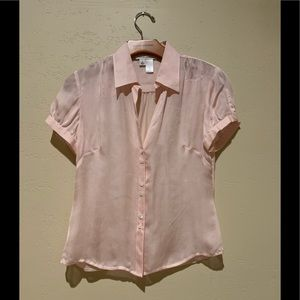 Woman's Pink Sheer button-down Blouse